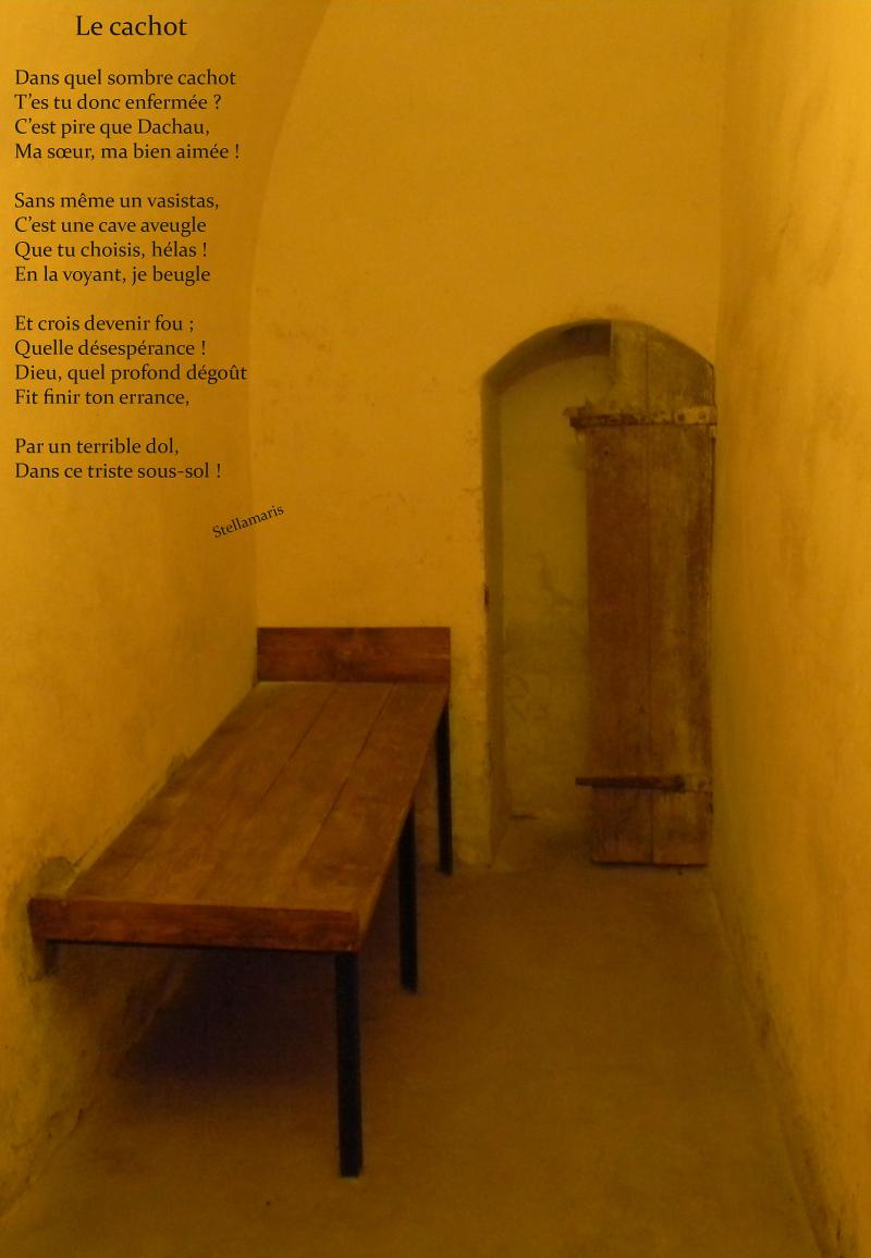 Le cachot / / Dans quel sombre cachot / T'es tu donc enfermée ? / C'est pire que Dachau, / Ma sœur, ma bien aimée ! / / Sans même un vasistas, / C'est une cave aveugle / Que tu choisis, hélas ! / En la voyant, je beugle / / Et crois devenir fou ; / Quelle désespérance ! / Dieu, quel profond dégoût / Fit finir ton errance, / / Par un terrible dol, / Dans ce triste sous-sol ! / / Stellamaris